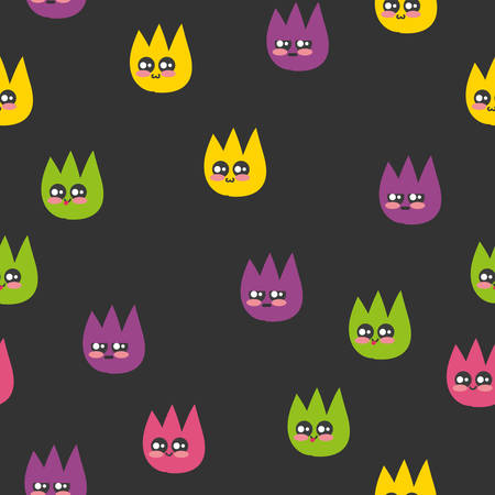 Seamless pattern with colorful fleas. Vector. Illustration