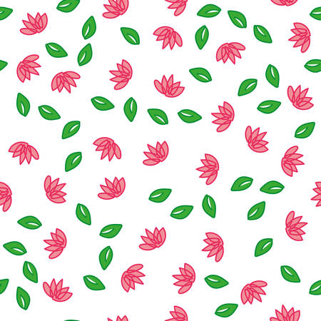 Seamless pattern with leaves and lotus. Vector
