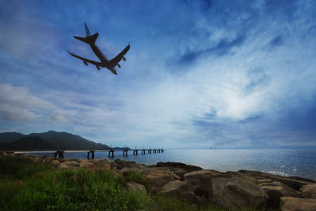 water scape: flight departing in Hong Kong airport Stock Photo