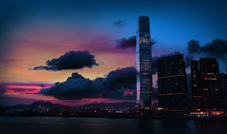 sea scape: Colorful sunset in Tsim Sha Tsui Kowloon Hong Kong Stock Photo