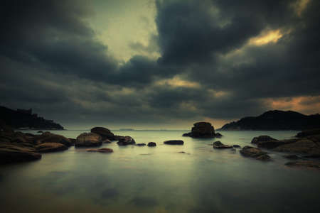 stanley: peaceful water and dramatic sky at Stanley bay in Hong Kong