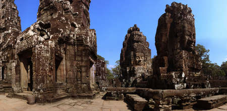 tourist spot: ancient temple architecture in Angkor Wat Cambodia  Stock Photo