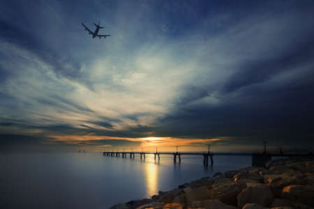 Sunset at Hong Kong airport China photo