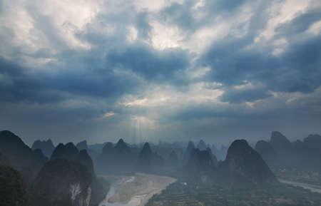 guilin: Cloudy Sunset in Guilin Guangxi China Stock Photo