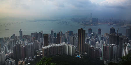 water scape: Mountain view of Victoria harbour Hong Kong