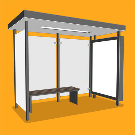 3D perspective bus stop. Isolated bus shelter with citylight for your Ad. Vector illustration