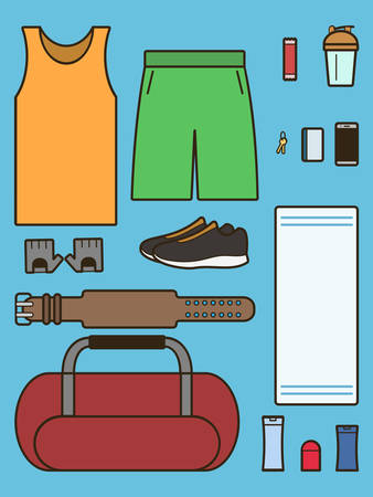 gainer: What to put in sports bag. Gym bag. Set of required accessories in gym. Vector illustration Illustration