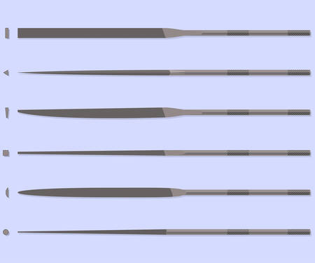 hardened: Set of 6 needle file tools. Bench instrument. Jewelry tools.