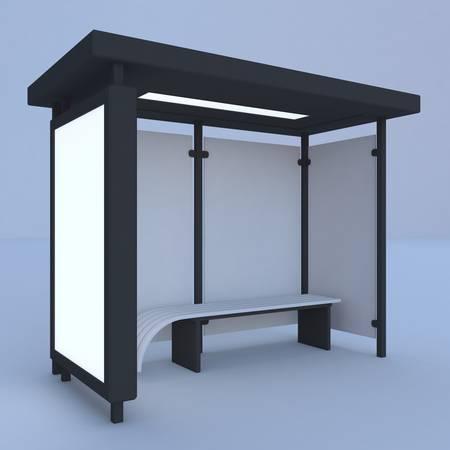 render: 3D render bus stop Stock Photo