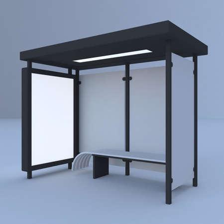 3D render bus stop Stock fotó