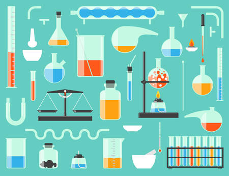 distilling: Set of chemical laboratory equipment. Chemical glass.