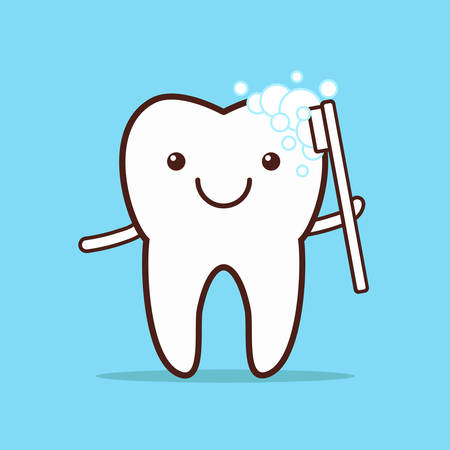 orthodontist: Cute smiling tooth brushing Itself. Vector illustration.