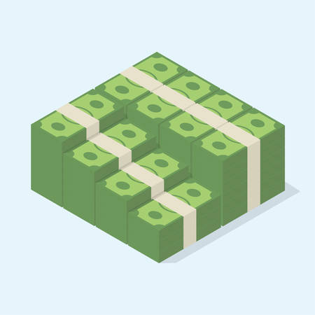 cash money: Big stacked pile of cash A lot of money. Isometric vector illustration