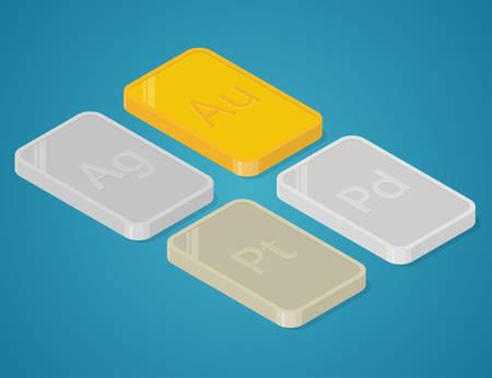 platinum: Gold, silver, platinum and palladium. Precious metals bars. Isometric vector illustration Illustration