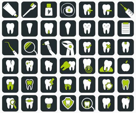 dientes sucios: Conjunto de 42 iconos dentales. signos de estomatología. ilustración vectorial