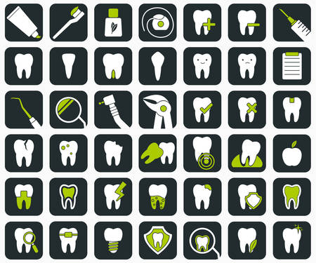 Set of 42 dental icons. Stomatology signs.  Vector illustration
