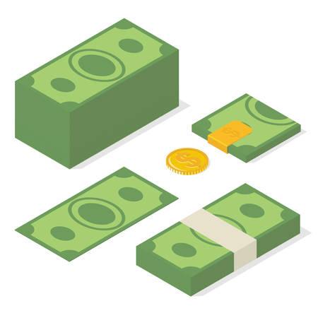 pile of money: Wealth. Pile of money, golden coin, folded bills in money clip. Isometric vector illustration