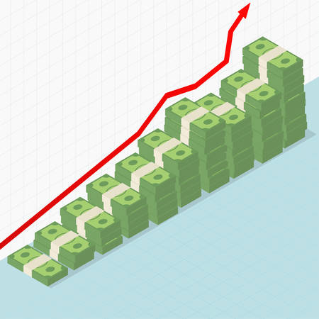Pile of money stacks rising graph with upward arrow. Isometric vector illustration Illustration