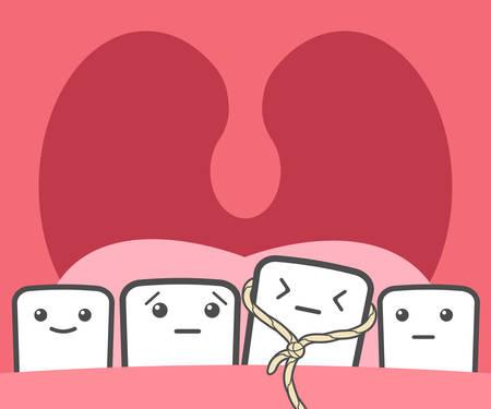 Tooth pulled thread. Deciduous teeth, baby teeth, temporary teeth, milk teeth. Funny vector illustration