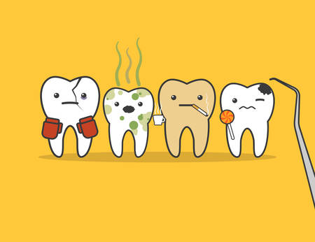 dirty teeth: Concept of problematic teeth. Funny vector illustration Illustration