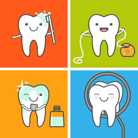 muela caricatura: el cuidado de los ni�os los dientes y la higiene vector iconos. Higiene oral. C�mo cuidar a su concepto dientes. diente sano. Cepillado de dientes, hilo dental, mouthwashing y visitar al dentista.