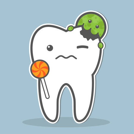 dental caries: Tooth with lollipop attacked by bacteria. Dental caries concept. Vector illustration