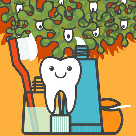 bacteria tooth: Happy tooth under reliable protection of toothbrush, mouthwash, toothpaste and dental floss. Hygiene things against bacterias and disease. Teeth and oral hygiene concept. Vector illustration.