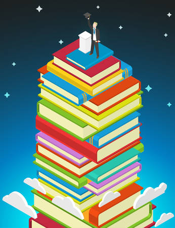 sucess: Success Education concept. Books stack and student with graduate cap and diploma on top.
