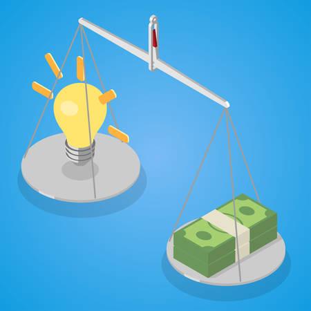 Idea and money stack balance on libra. Idea is money concept. Isometric vector illustration