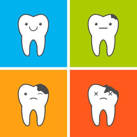 Death of tooth. Dental caries progress illustration