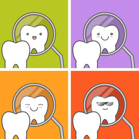 hygienist: Healthy tooth looks in dental mirror. Happy cute faces. Funny vector illustration