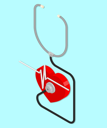 Stethoscope and heart. heartbeat. Isometric vector illustration