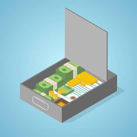 Coffre-fort. argent isométrique illustration vectorielle.