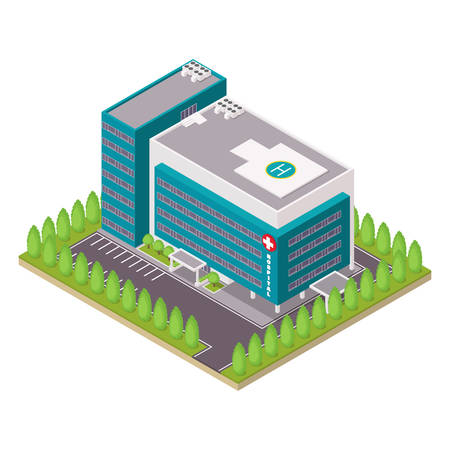 Hospital and ambulance building. Isometric vector illustration.