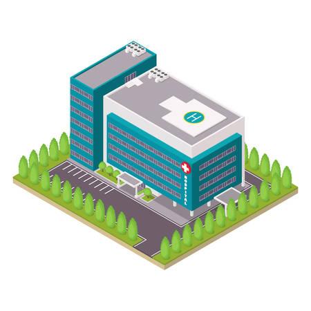 heliport: Hospital and ambulance building. Isometric vector illustration. Illustration