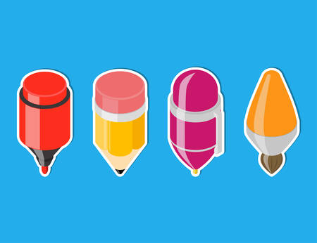 pen and marker: Isometric drawing tool icons. Cartoon pen, pencil, brush and marker. Vector icons