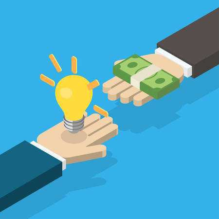 Idea trading for money concept. One hand holding light bulb and other hand offers money. Isometric vector illustration