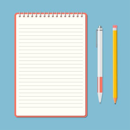 Blocchetto per appunti aperto con la matita e penna in vista dall'alto. Sketchbook o diario. illustrazione di vettore
