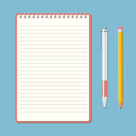 Opened notepad with pencil and pen in top view. Sketchbook or diary. Vector illustration Ilustração