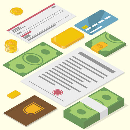 a precious: Financial objects. Precious things. Isometric vector illustration Illustration