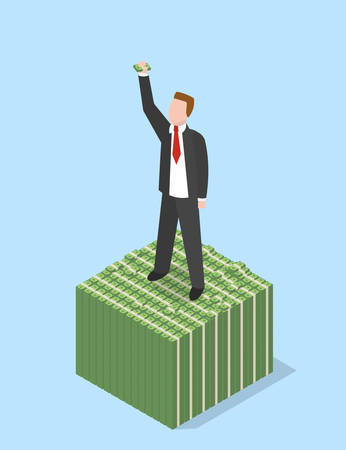 pile of cash: Businessman on stacked pile of cash. Success. Isometric vector illustration