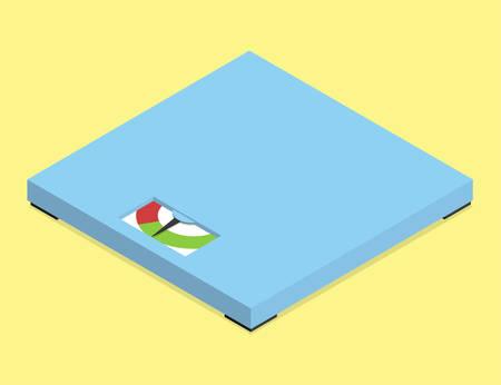 Minimalistic analog floor scales. Isometric vector illustration