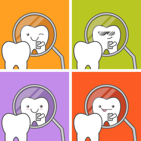hygienist: Healthy tooth make selfie at dental mirror. Happy cute faces. Funny vector illustration