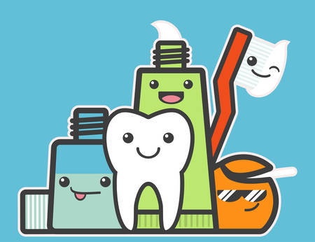 elixir: Best friends of healthy tooth. Hygiene concept. Funny vector illustration.