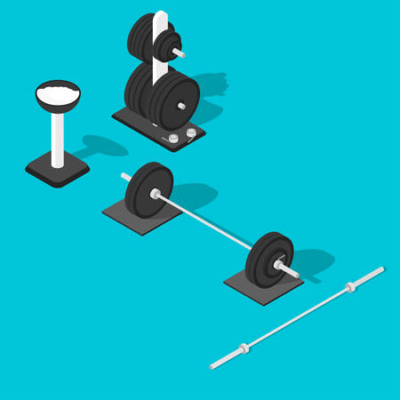 gym equipment: Isometric gym equipment. Gym workout equipment. Barbell, weights stand and bar. Vector illustration Illustration