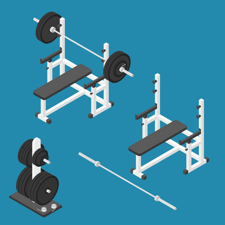 gym equipment: Isometric gym equipment. Gym workout equipment. Press bench, barbell, weights stand and bar. Vector illustration