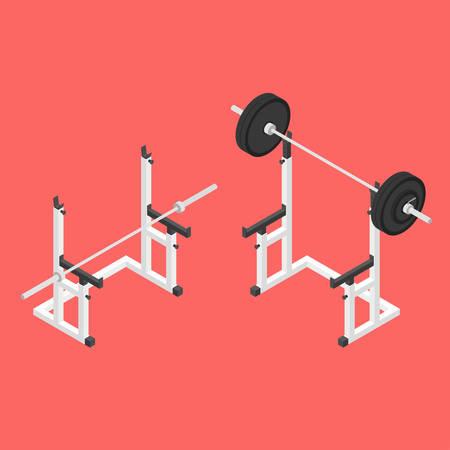 Barbell squat stand. Power rack. Holder bench for barbell. Isometric vector illustration