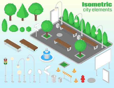 Isometric city elements set. Outdoor isolated objects. Vector illustration Illustration