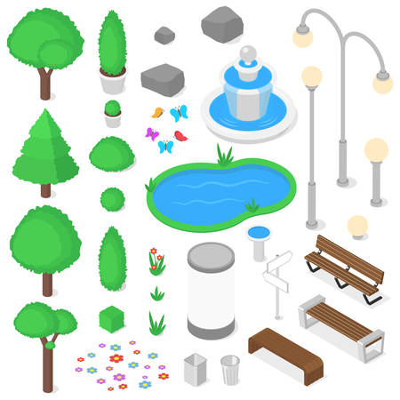 hedge trees: Isolated park elements set. Isometric vector illustration Illustration