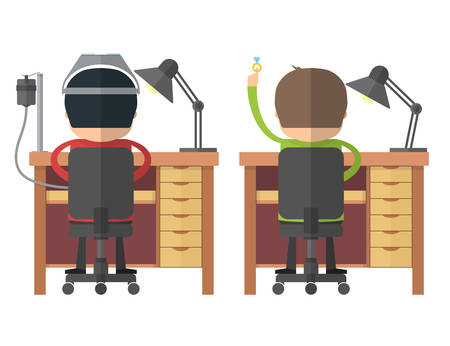 The jewelers at work. Back view. Craftsmen at workbench. Vector illustration Illustration